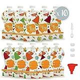 Pack de 10 Bolsas de Comida Reutilizables Sweety Fox - Bolsa para Compota y Puré 150 ml - Doble cierre Hermetico - Fácil de Rellenar, Limpiar y Transportar - con Cepillo y Embudo - Para bebes y niños