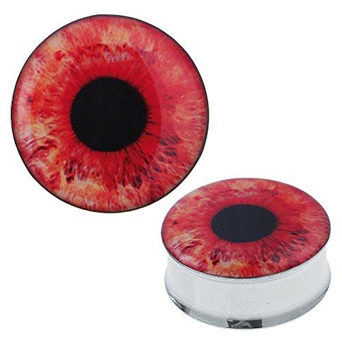Chic Net Plug Tunnel pupilla dell'occhio acciaio rosso acrilico Expander Piercing acciaio chirurgico 14 millimetri