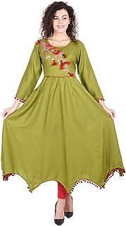 سترة نسائية من VIHAAN IMPEX هندية طويلة من الرايون فستان للنساء فستان للحفلات