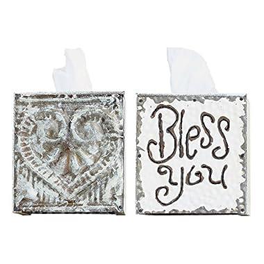 Creative Co-op DA1184 Wood & Metal Bless You Tissue Box Cover