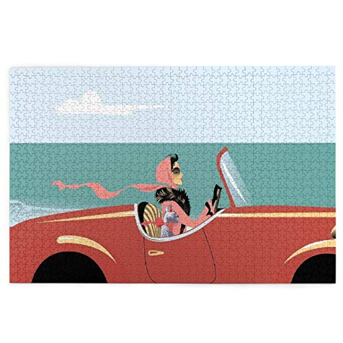 KIMDFACE Rompecabezas Puzzle 1000 Piezas,Cars Funk Ilustración de una Dama conduciendo Auto Retro en la Carretera con su Perro por mar,Puzzle Educa Inteligencia Jigsaw Puzzles para Niños Adultos