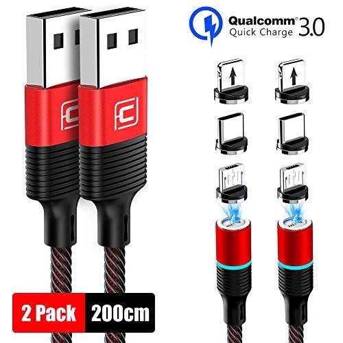 CAFELE 3 in 1 Magnetisch Kabel USB, Magnet Ladekabel 200cm mit Weichem LED Licht, Magnetic Datenkabel Nylon Kompatibilität für Micro USB/Type C/Tablets/Cell Phone/Huawei Aufladen (Rot 2 Pack)