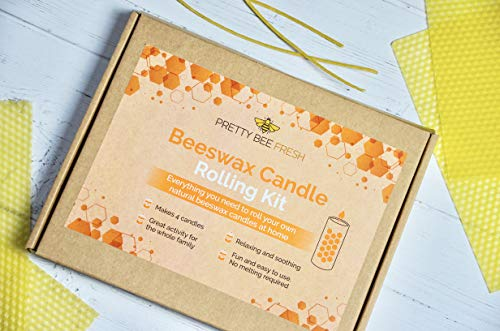 Beeswax Candle Rolling Kit | 100% Pure Natural Beeswax | Make Your Own Beeswax Candles | Plastic-Free and Paraffin-Free | Makes 4 Candles