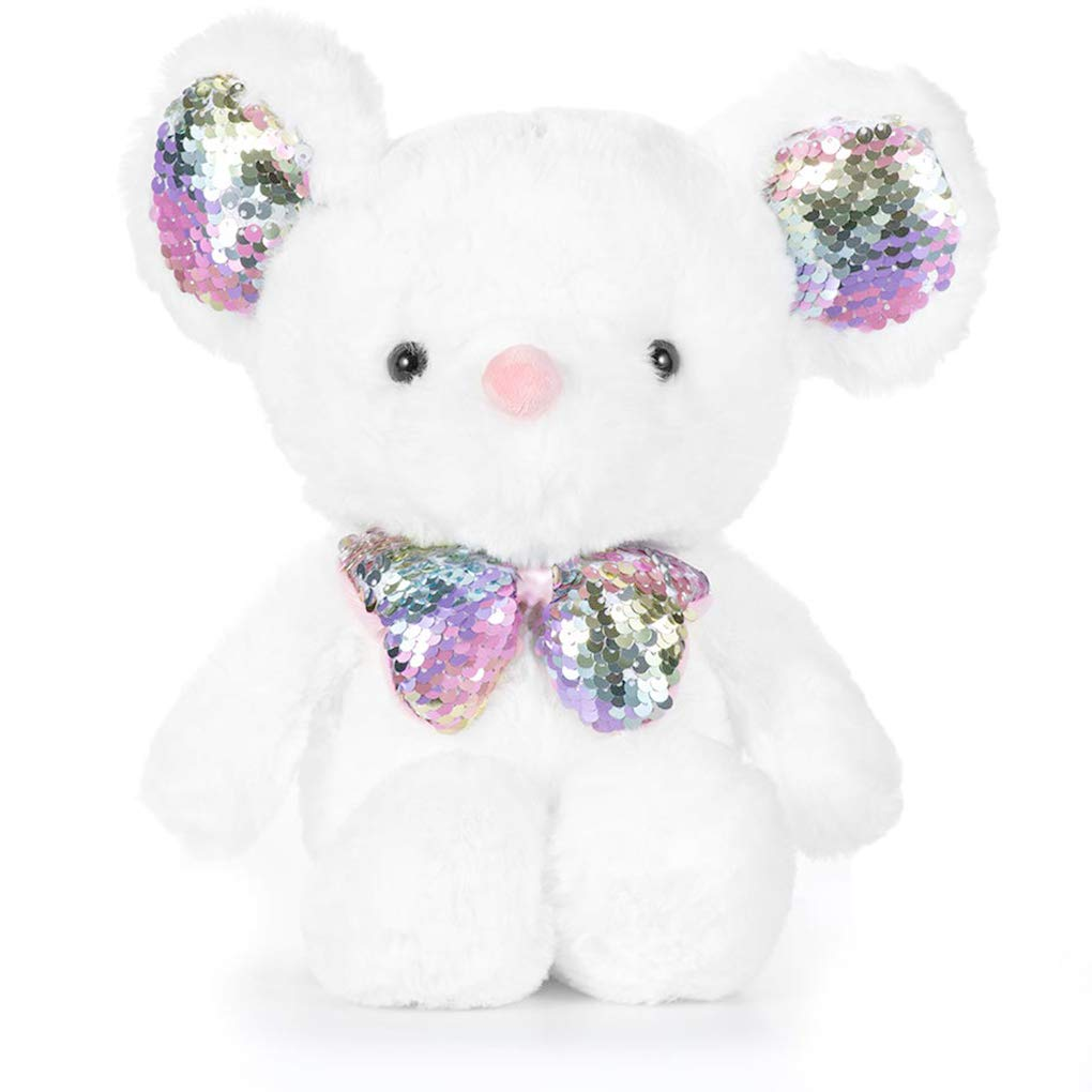 U-NI Mouse Stuffed Animal Plush Toy,Color Change Sequins Plush for Kids 13 Inch White