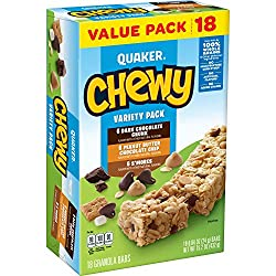 Quaker Chewy Granola Bars, 3 Flavor Variety Pack, (18 Pack)