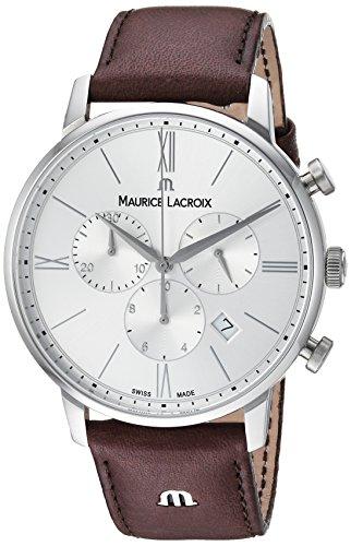 Maurice Lacroix Herren Chronograph Quarz Uhr mit Leder Armband EL1098-SS001-110-1