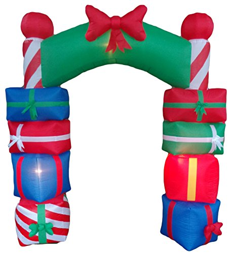 8 Foot Tall Lighted Christmas Inflatable Stacked Colorful Gift Boxes Archway with Red Bow LED Lights Outdoor Indoor Holiday Decorations Blow up Yard Giant Lawn Inflatables Home Family Outside Decor