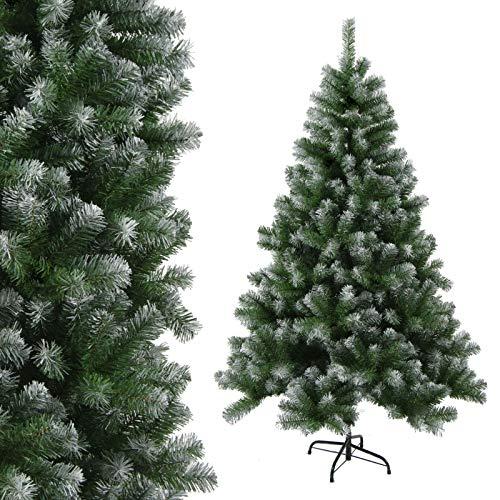 Trade-Shop Künstlicher Weihnachtsbaum Tannenbaum Christbaum Tanne, Plastik, Grün mit Deko-Schnee, 210cm, 1230 Spitzen, PVC mit Metall-Standfuß