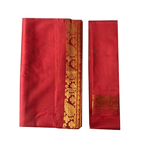 Sari brocado rojo burdeos dorado vestido tradicional de la India ropa instrucciones bindis