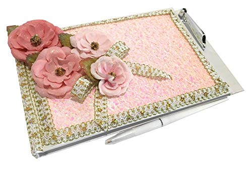 Flower Guest Book For A Sweet 16, Quinceanera, Wedding Bridal Signature Memory Pink Book All Occasion