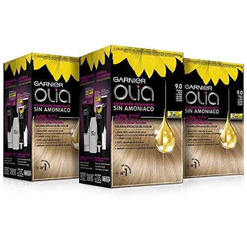 Garnier Olia - Pack de 3 coloración permanente sin amoniaco para un olor agradable con aceites florales de origen natural, color tono 9.0 rubio muy claro