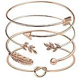 Suyi 4 Pièces Bracelet Manchette Réglable Bracelet en Fil Ouvert Ensemble De Bracelets Enveloppants Empilables pour Femmes Rosegold