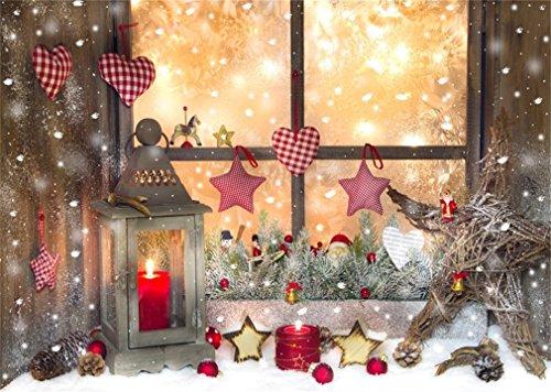 YongFoto 2,2x1,5m polyester foto achtergrond Kerstmis lantaarn ornamenten Schbiger venster binnen fotografie achtergrond voor fotoshooting portretfoto's party kinderen bruiloft fotostudio rekwisieten