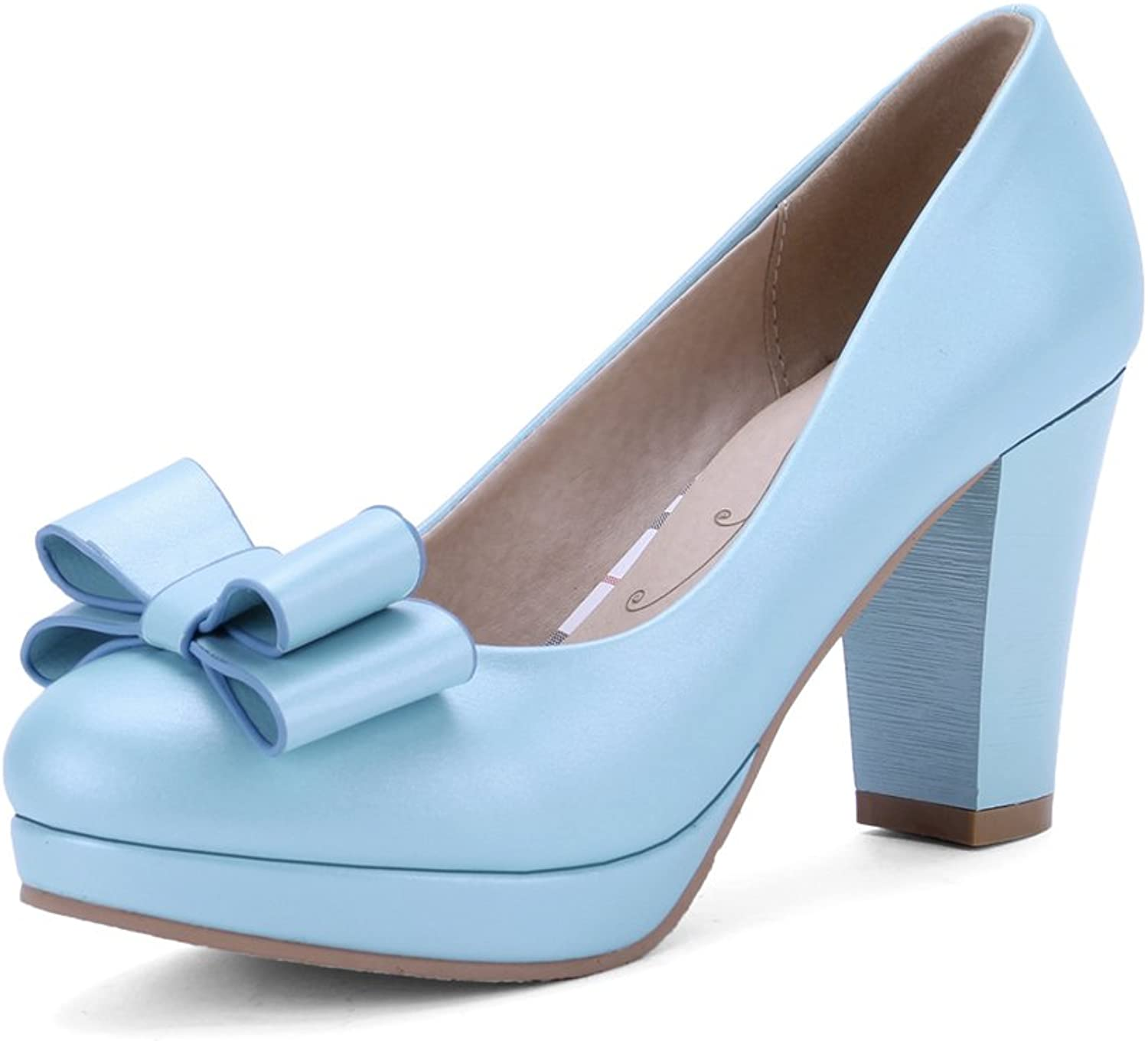 Lucksender Womens Round Toe High Chunky Sweet Style Pumps shoes with Bowknot