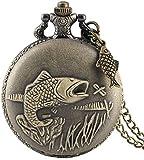 N / A Reloj de Bolsillo, la Escultura de Bronce Pesca del Collar del Reloj de Bolsillo Cadena de Reloj de Bolsillo Reloj de Cuarzo Retro Steampunk Pescados los Regalos de Accesorios