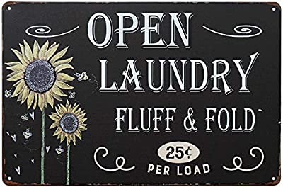 Goutoports Laundry Room Vintage Metal Sign 11.8x15.7 Inch Sunflower Laundry Decorative Signs Wash Room Home Decor Art Signs