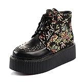RoseG Women's Handmade High Top Goth Punk Flats Platform Creeper Boots Multicolor Size6.5