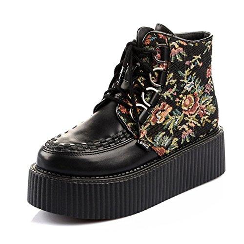 RoseG Damen Leder Stickereien Flache Plateauschuhe High Top Stiefel Boots Size38
