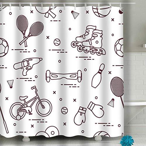 N\A Duschvorhang-Set, Bad Stoff Vorhänge wasserdicht bunt lustig mit Standardgröße Fahrradrollen Gyroscooter Boxhandschuhe Wasserpistole Waren Bowling Tischtennis Tennis Fußball