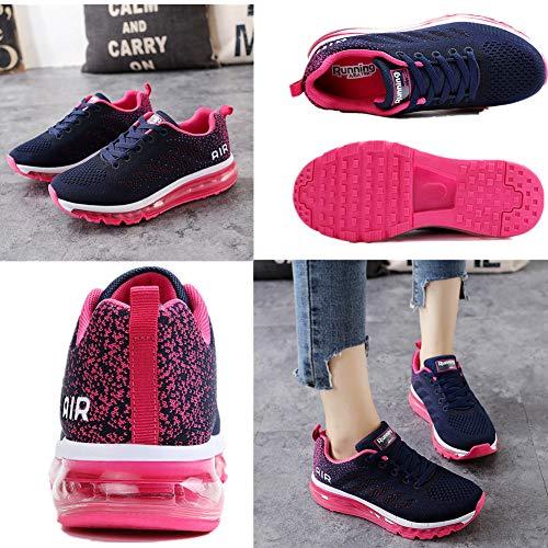 Air Zapatillas de Running para Hombre Mujer Zapatos para Correr y Asfalto Aire Libre y Deportes Calzado Unisexo Blue Plum 39