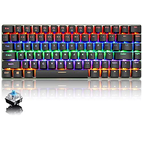 Tastiera Meccanica da Computer Gaming, USB Cablata 82 Tasti Anti-Ghosting Blue Switch Tastiera Gioco Arcobaleno Multicolore Illuminata Backlit, Mechanical Keyboard Compatta Ergonomica Nero
