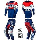 O'Neal Element Warhawk Blue/Red Adult Motocross MX Off-Road Dirt Bike Jersey Pants Combo Riding Gear Set (Pants W34 / Jersey Large)