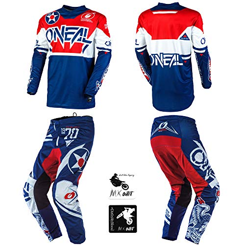 O'Neal Element Warhawk Blue/Red Adult motocross MX off-road dirt bike Jersey Pants combo riding gear set (Pants W36 / Jersey X-Large)