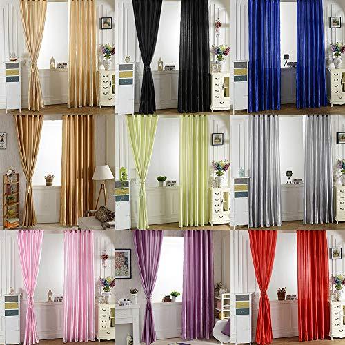 FOReverweihuajz Solid Window Tür Zimmer Panel Schatten Vorhang Drapieren Blind Volant Home Decor Volants Solid Color Schlafzimmer Wohnzimmer Rod Durch Vorhang Kaffee 100 cm x 250 cm