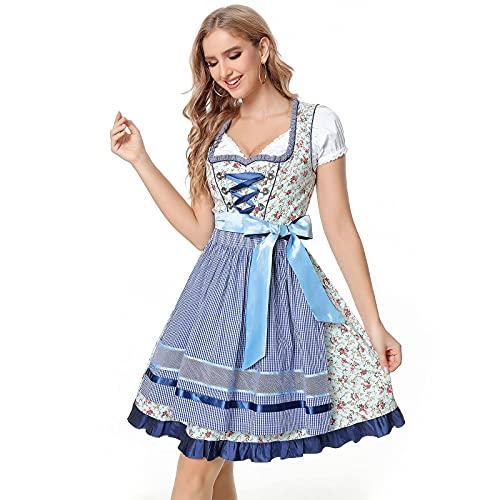 wenyujh Damen Dirndl Kleid Dirndlkleid 3 TLG. Trachtenkleid Set mit Kleid, Bluse, Schürze für Oktoberfest,Karneval,Cosplay Baumwolle Trachtenmode Dirndl Kleid für Frauen Mädchen (B-Hellblau, 34)