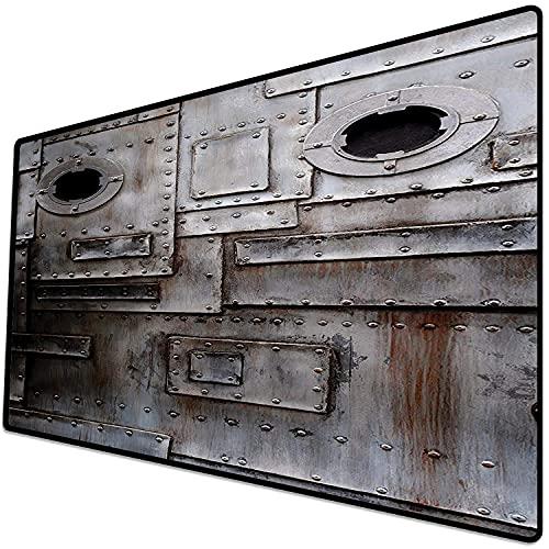 Alfombrilla de ratón (600x300x3 mm) Ojo de Buey de Hierro estilizado Industrial, Oxidado Grunge Entrada de fábrica de Acero Rayado Im Superficie Suave y cómoda de la Alfombrilla de ratón para Juegos