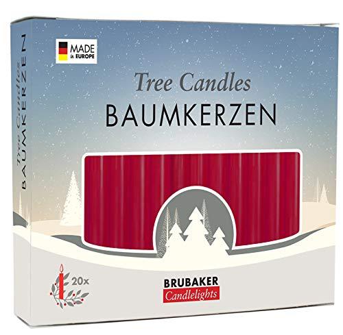 Brubaker 20er Pack Baumkerzen Wachs Weihnachtskerzen Pyramidenkerzen Christbaumkerzen Dunkelrot