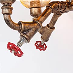 ZAKRLYB 4-Lights Industrial Vintage Rustic Steampunk Chandeliers Metal Iron Waterpipe Retro Ceiling Pendant E27 Edison Antique Lamp Restaurant Bar Cafe Chandelier #5