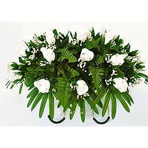 White rose cemetery saddle~Cemetery Arrangement~Graveside Decorations~Headstone Saddle~Saddle Arrangement~Sympathy Flowers~Grave decor~Cemetery Flower Service Subscription~cemetery saddle