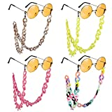 XiYee 4 Piezas Cadenas Para Gafas, Cadena de Acrílico Retro para Anteojos, Antideslizantes Cadena Gafas de Sol para Mujeres y Hombres, Gafas de Lectura Cadenas Retenedor de Gafas