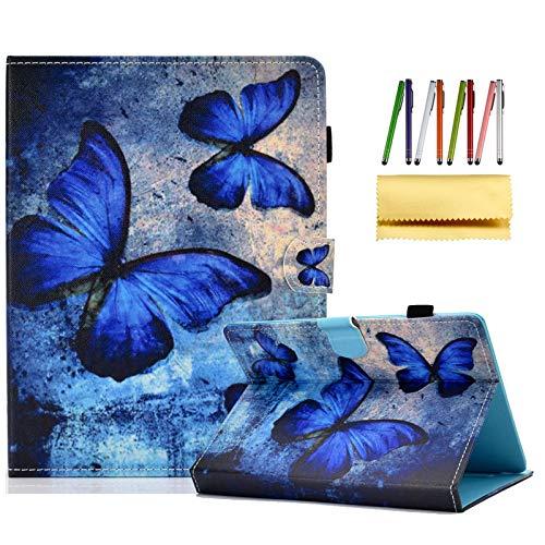Techcircle Universal-Schutzhülle, PU-Leder, rutschfest, mit Magnetverschluss, Kartenfächern, für alle 6,5-7,5-Zoll-Tablets, Samsung Galaxy Tab A/Tab 4 7.0/Fire 7, blauer Schmetterling