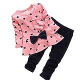 Ropa Bebe Niñas Otoño Invierno,Fossen 2PCS/Conjunto Recién Nacido Bebé Niñas Impresión Arco Camiseta de Manga Larga + Pantalones (12-24 Meses, Rosa)