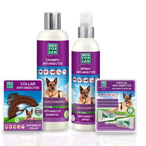 MENFORSAN Pack de 4 Productos antiparasitarios para Perros | Contiene Cuatro Productos repelentes: Collar, Champú, Spray y Dos Unidades de pipetas Anti Insectos. | Combate Cualquier Insecto