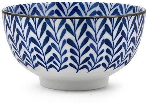Cuenco de la cultura popular Snack-dip tazón vajilla japonesa tazón de cerámica, hogar vidriado azul y blanco de la cara un recipiente grande for lavar platos juegos de cubiertos regalo comercial [6 p