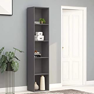 vidaXL Book Cabinet Living Room Home Office Bookcase Storage Rack Organiser Display Stand Grey 40x30x189cm Chipboard