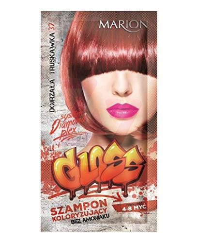 Marion Champú brillante para el cabello en bolsita de duración de 4 a 8 lavados de amoníaco GRATIS 37 fresa madura