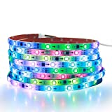 ALITOVE WS2811 LED Strip RGB Addressable LED Rope Light 12V 5m 150 LEDs Dream Color Programmable Digital LED Pixel Lights Waterproof IP65 with 3M VHB Heavy Duty Self-Adhesive Back for Arduino DIY