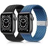 Amzpas 2-Pack Kompatibel mit Apple Watch Armband 38mm 40mm 42mm 44mm, Einstellbar Geflochten Dehnbare Elastisch Ersatzarmband für iWatch Series SE/6/5/4/3/2/1 (38mm/40mm, Schwarz+Blau)