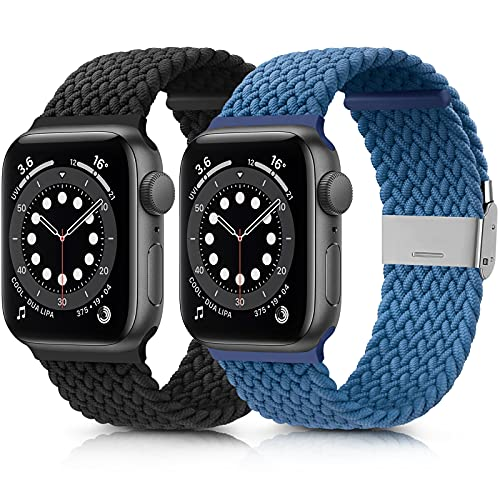 Amzpas 2-Pack Kompatibel mit Apple Watch Armband 38mm 40mm 42mm 44mm, Einstellbar Geflochten Dehnbare Elastisch Ersatzarmband für iWatch Series SE/6/5/4/3/2/1 (42mm/44mm, Schwarz+Blau)