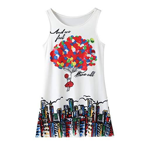 YWLINK Verano NiñAs Vestido, Sin Mangas Mezcla De AlgodóN con Estampado Digital Falda Larga Vestido Casual Vestido De Fiesta Playa Lindo Bien Parecido Regalo(Multicolor,7-8 años/140)