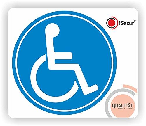iSecur 2er Set Rollstuhl-Aufkleber I Ø 10 cm I Behinderten-Aufkleber für Auto, Behinderten-Transport, Rollstuhl-Fahrer I Wetterfest außen-klebend I kfz_393