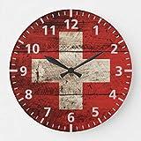 Reloj de pared, diseño de bandera de Suiza en grano de madera viejo