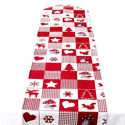 Chytaii Bandera de Mesa Triángulo Navidad Rojo Mantel Navidad Pascua Tela...