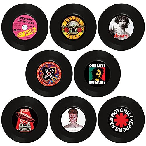 Discos de vinilo para decoración de pared, 8 piezas tamaño single 7 pulgadas, para decorar fiestas de rock música, cumpleaños bares pubs fiestas temáticas de los 70s 80s 90s retro vintage old school