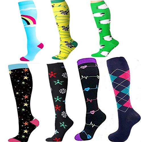 BstAmzStore - Calcetines de compresión para deportes médicos para mujeres y hombres, 2/4/7 pares 20-30 mmhg Edema Running calcetines de compresión para enfermera embarazada -  -  S/M