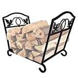 Amagabeli Fireplace Log Holder Firewood Holder Wood Carrier Metal Basket Wrought Iron Indoor Wood Stove Stacking Rack Storage Carrier Large Outdoor Fireplace Pit Decorative Holders Accessories Black